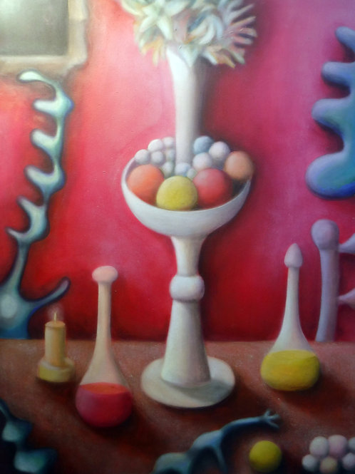 """""""Fruits, Flowers and Bottled Ceramic Stand"""" by Alfredo DeCurtis"""
