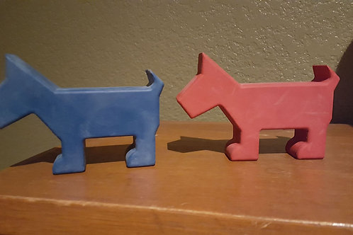Red and blue rubber Scotties