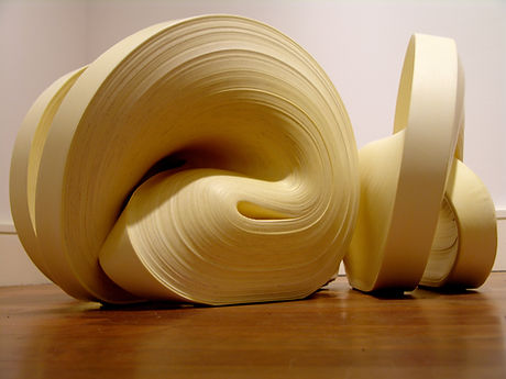 jae ko. rolled paper. recycled paper. colored ink.