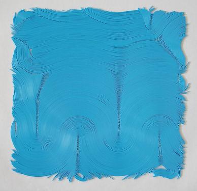 jae ko. art. vinyl cord. drawing.  turquoise.