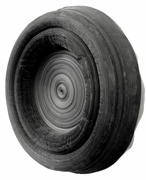 jae ko. rolled paper. sumi ink. installations. sculpture.