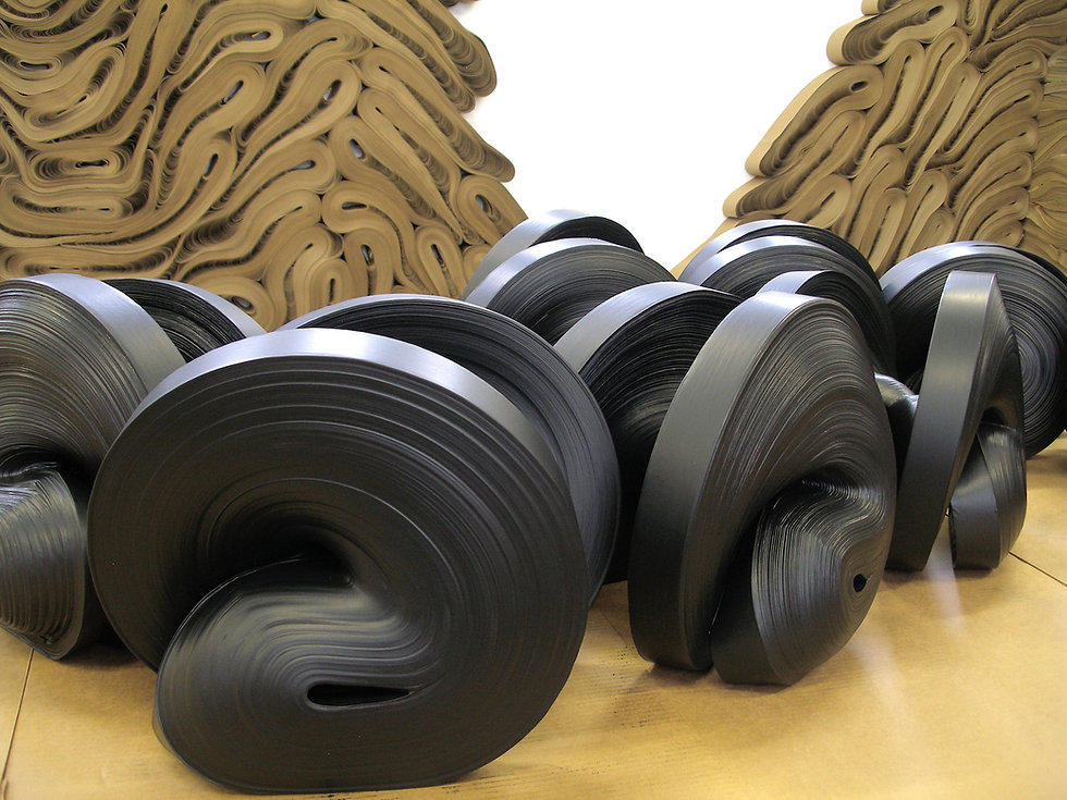 jae ko. black ink. black sumi ink. sculpture. floor sculpture.