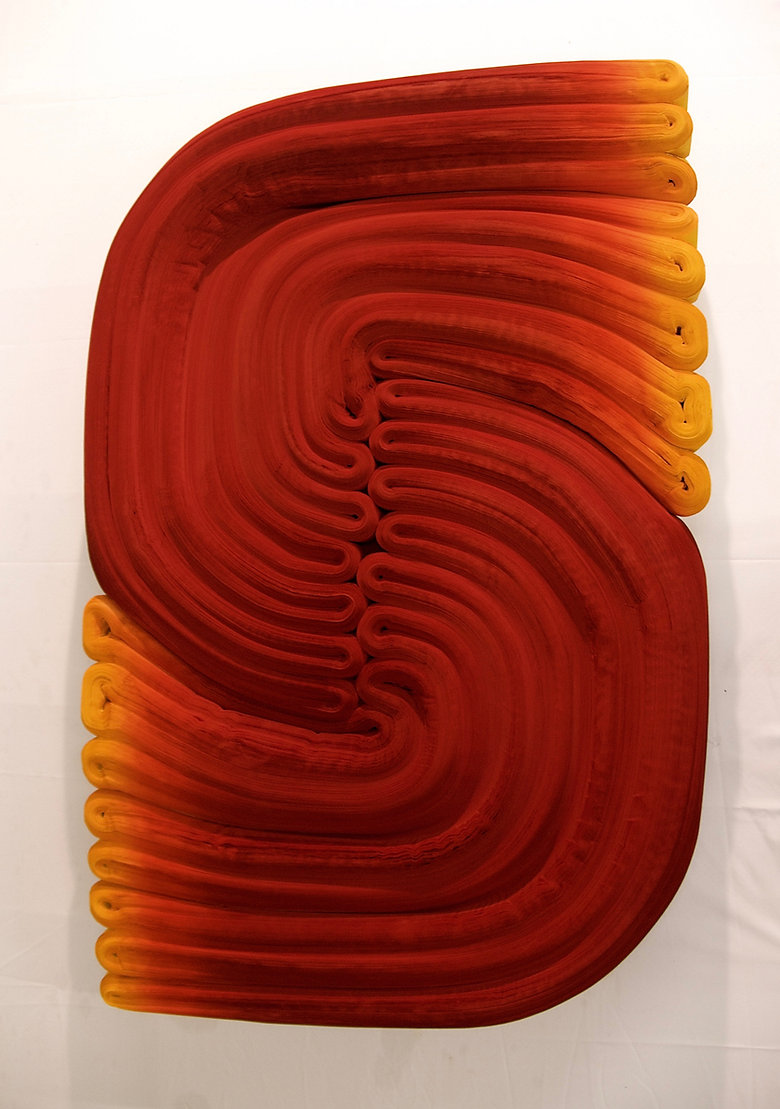 jae ko. rolled paper. colored ink. installations. sculpture.