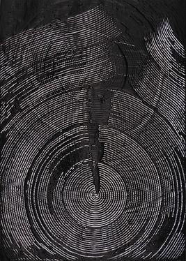 jae ko. art. drawing. ink. glue. black and white.