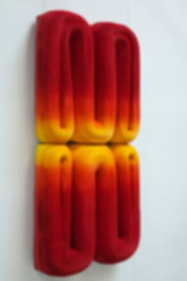 jae ko. rolled paper. wall mounted sculpture. colored ink. installations. sculpture.
