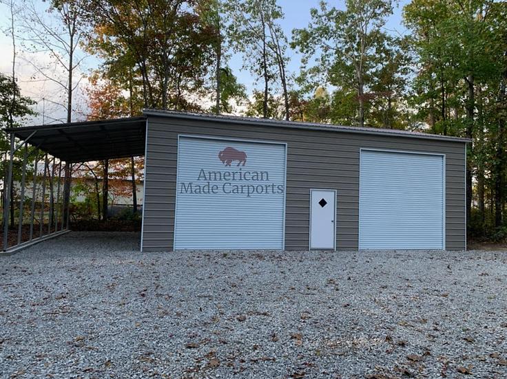 30x40x14 Vertical Roof Garage w/ Lean-to