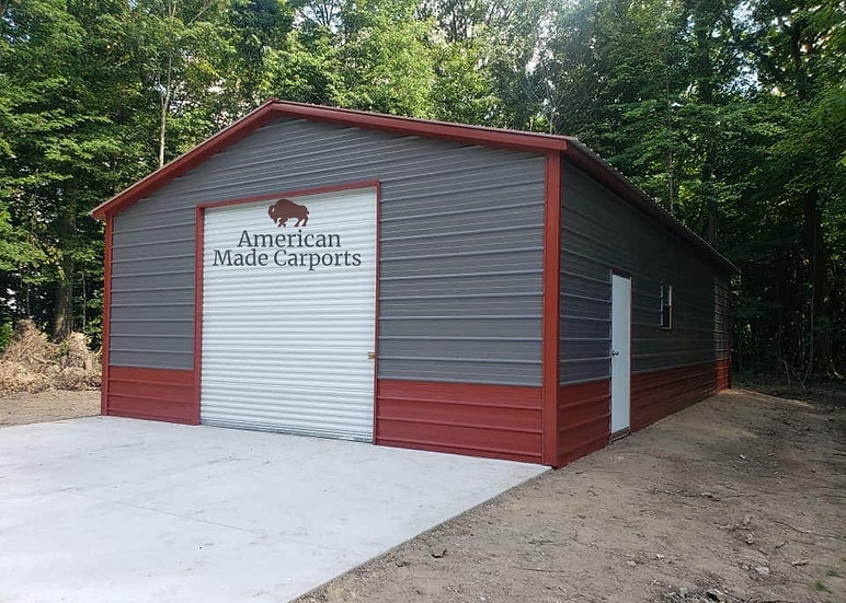 24x60x10 Two-Tone Vertical Roof Garage