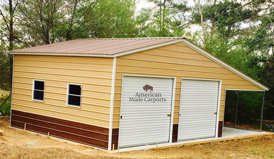 36x20x10/7 Brown Vertical Roof Style Custom Garage
