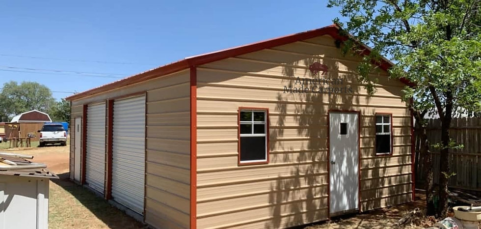 20x30x9 Fully Enclosed Vertical Roof Garage