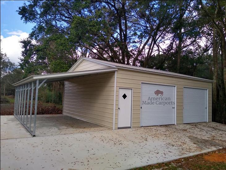 24x30x9 Vertical Roof Garage w/ Lean-to