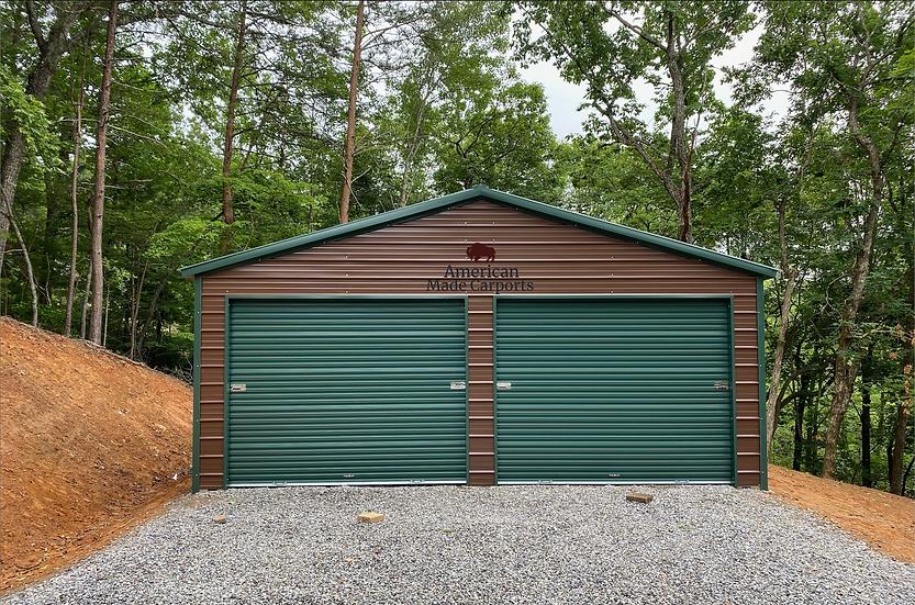 24x25x9 Earth Brown Vertical Roof Garage