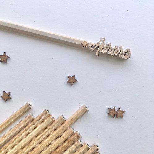 Lápices con nombre personalizados.
