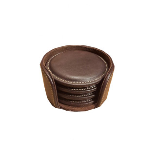 4 Pieces Leather Round Coaster Set