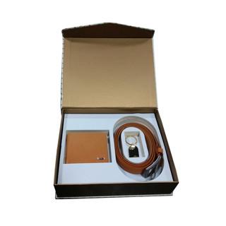 Leather Wallet, Belt & Metal Keyring Set