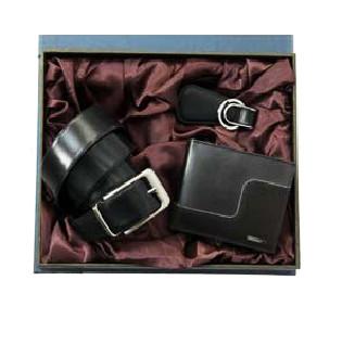 Leather Wallet, Belt & Key Ring Set