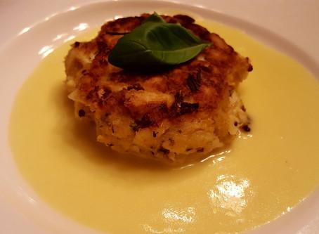 Crab Cake with Savoury Lemon Zabaglione