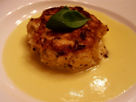 Crab Cake with Savoury Lemon Zabaglione
