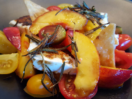 Baby Heirloom Tomatoes, Peaches and Feta Cheese