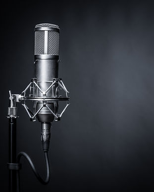 studio microphone on a black background.