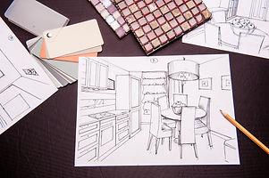 interior sketches, bedroom, living room,