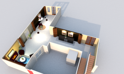 3D view rendering from top