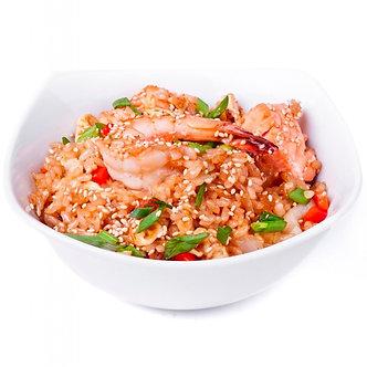 Тяхан(обжареный рис) с креветками и овощами