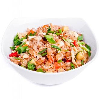 Тяхан(обжареный рис) с угрём и овощами