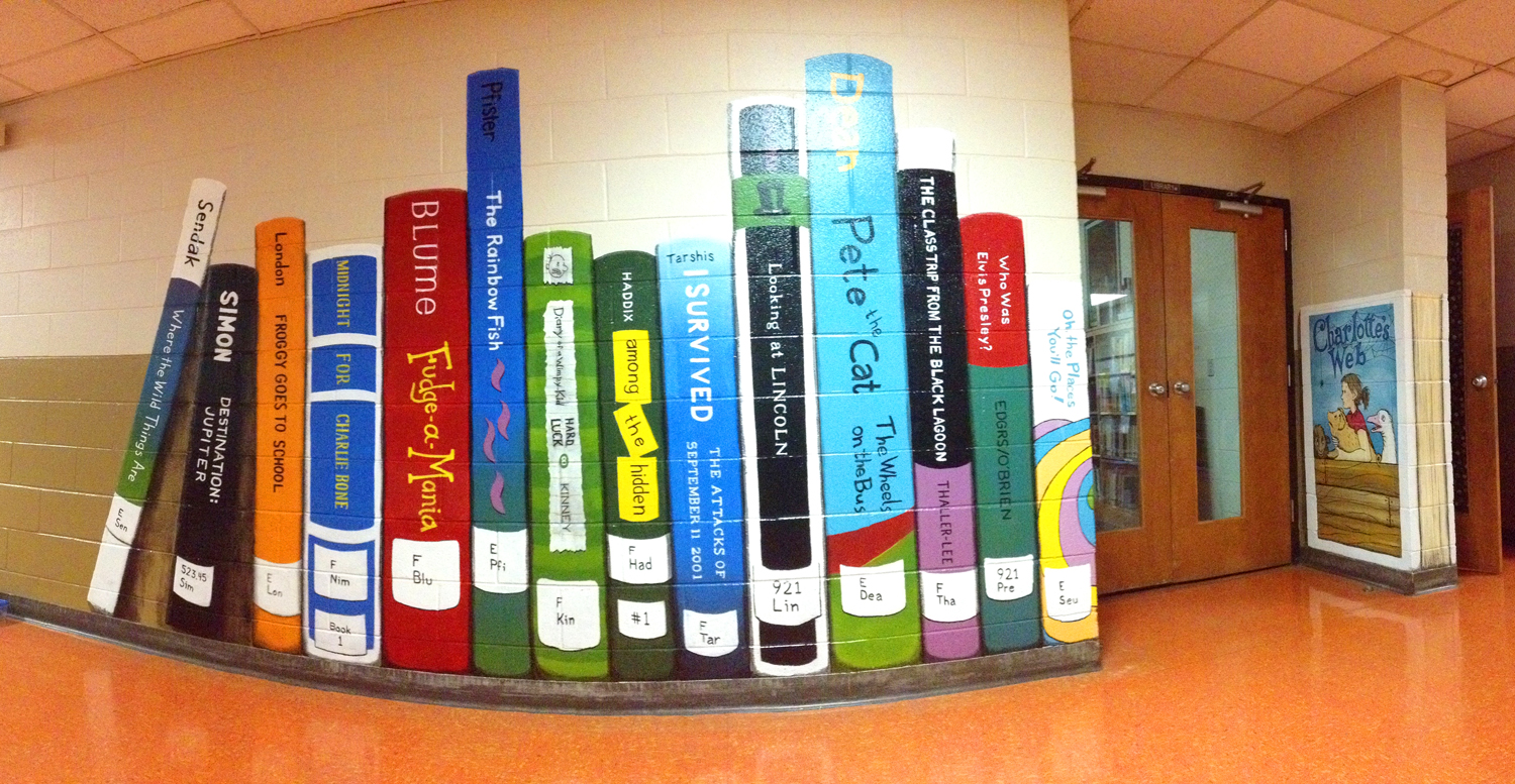 Library Entrance Bookshelf Mural