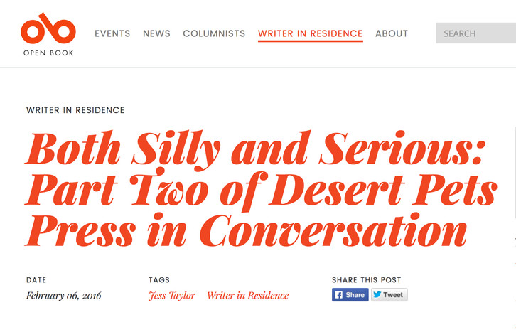 INTERVIEW: PART 2 - Desert Pets chats with Jess Taylor, writer in residence at Open Book TO!
