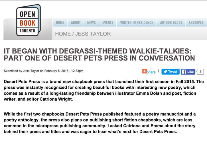 INTERVIEW: Desert Pets chats with Jess Taylor, writer in residence at Open Book TO! Check it out!!