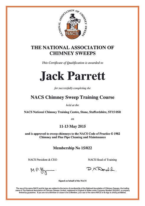 NACS membership certificate