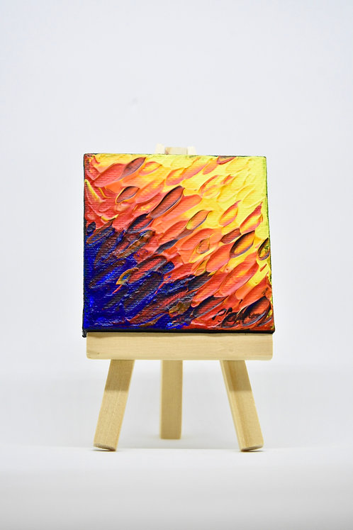 Miniature Painting With Easel Purple Red