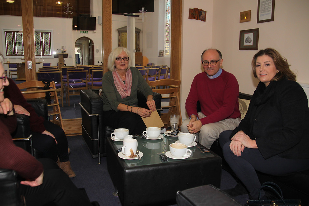 Buckland's new minister having tea with local MP and church members in the The Clock Coffee Shop