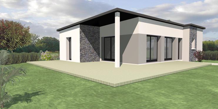 Maison TY-NEVEZ plain pied moderne avec une touche de pierres en façade