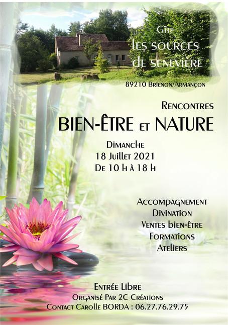 """Salon """"Rencontres Bien-être et Nature"""" Brienon sur Armançon Dimanche 18 Juillet 2021"""
