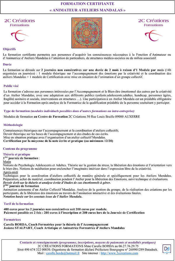 Programme 2C CREATIONS FORMATIONS Animat