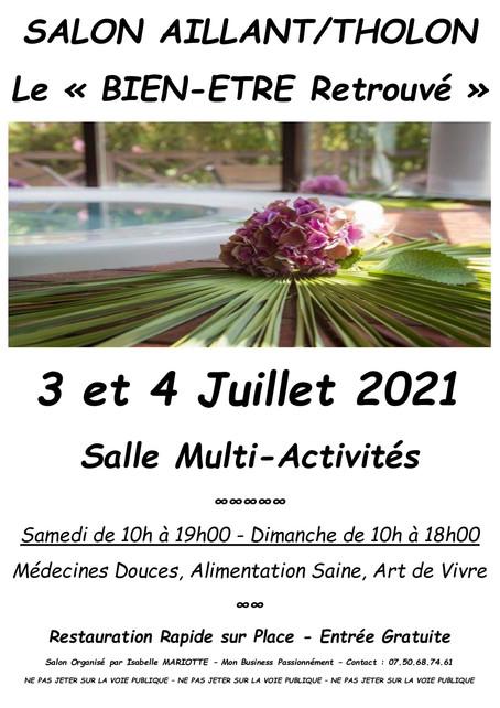"""Le Centre de Formation 2C CREATIONS Salon """"Le Bien-être Retrouvé"""" Aillant sur Tholon 4 Juillet 2021"""