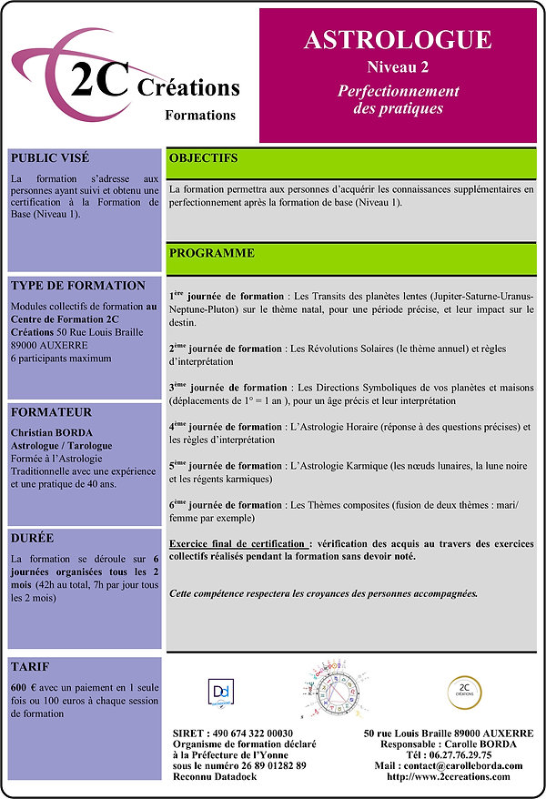 Formation 2C CREATIONS Astrologie Perfec