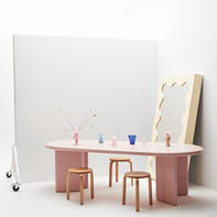 Chunky Table Pink & Curvy Mirror Pale Yellow