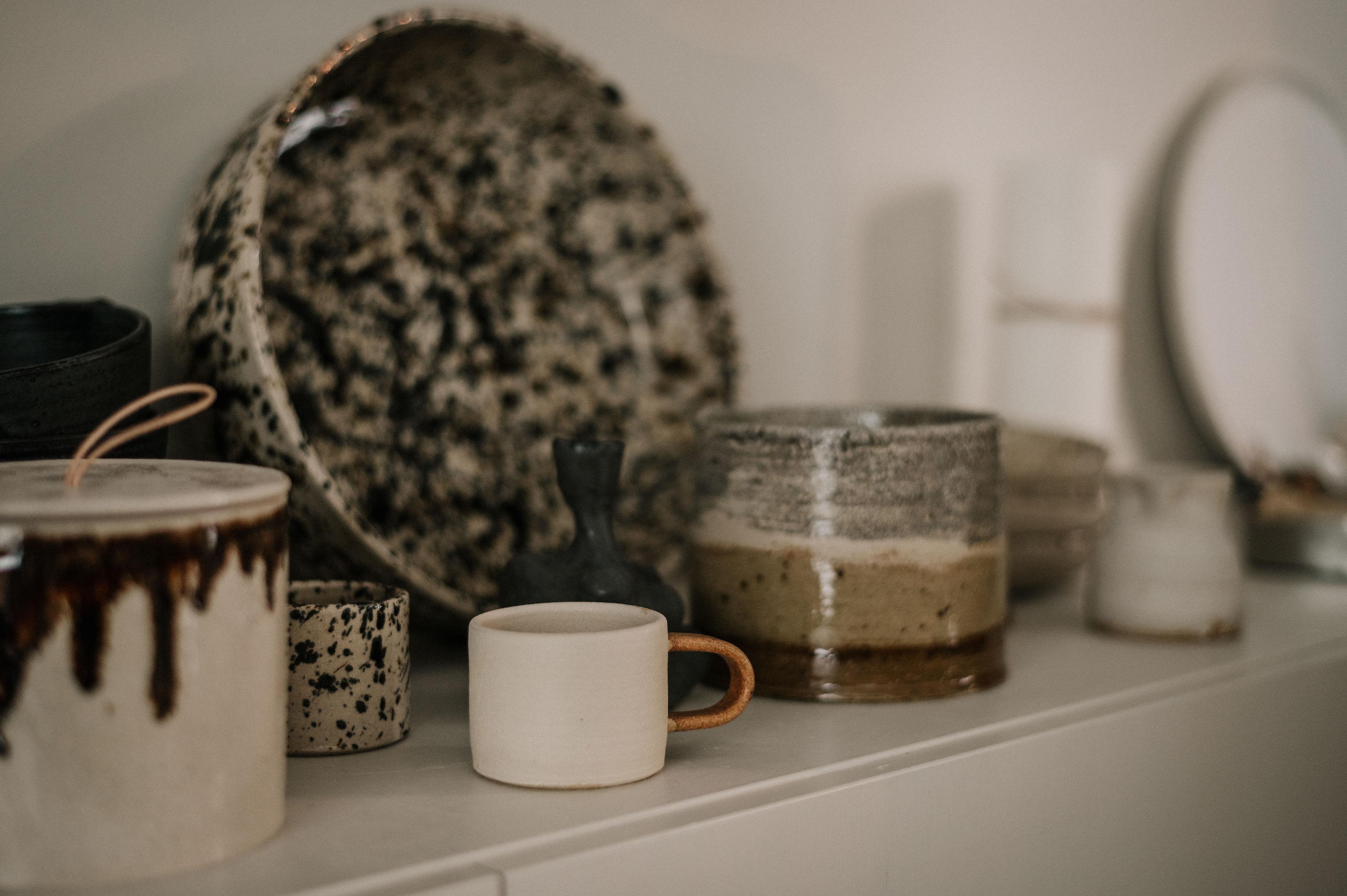 Kaffeburk, kopp och fat