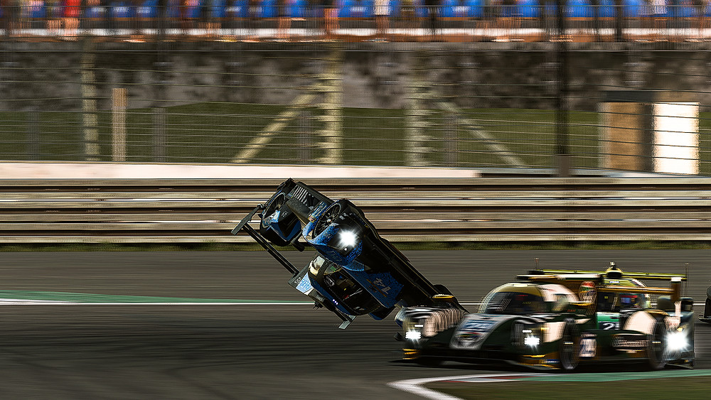 Dave South is flipped into the air by another driver while braking at the Nürburgring on Saturday, November 21st, 2020. After 123 laps on the circuit, and sitting in P8, South was ploughed by another driver which resulted in major damage to the #14, leading the team to retire from the event.