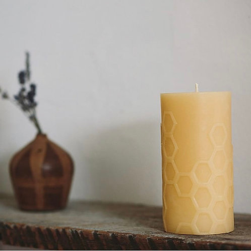 """HEX 5.0 Pillar"" Bees Wax Candle"