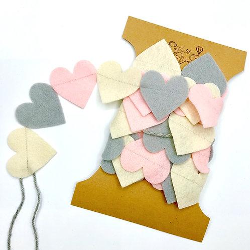 """""""Pastel Pink Heart"""" Felt Garland"""