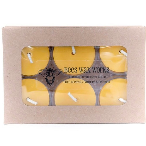 """""""Tealights"""" Bees Wax Candles - 6 Pack"""
