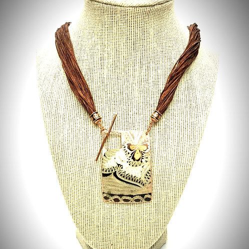 Brass Necklace w/Front Clasp & Silk Cord