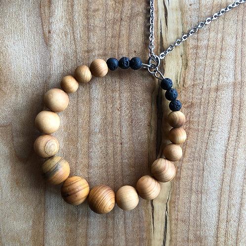 Cedar Wood Circle Necklace w/Lava Beads