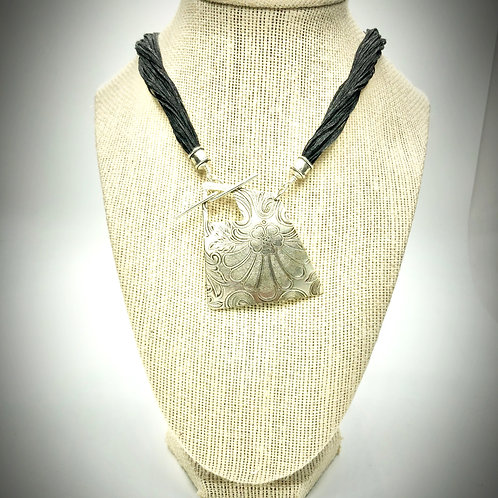 Silver Necklace w/Front Clasp & Silk Cord