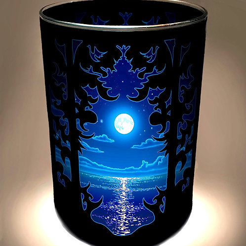 """Blue Moon Over Water"" Candle Holder"