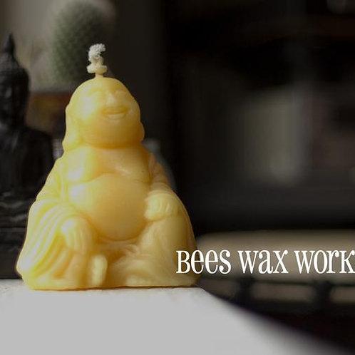 """""""Happy Buddha"""" Bees Wax Candle"""