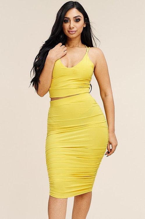 Zoe Midi Skirt - Yellow